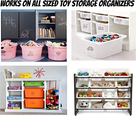 Helps Declutter Toy Closet /& Playroom Pink Icons, Small Educational Toy Organizing Stickers//Decals for Kids MiniOwls 24 pcs