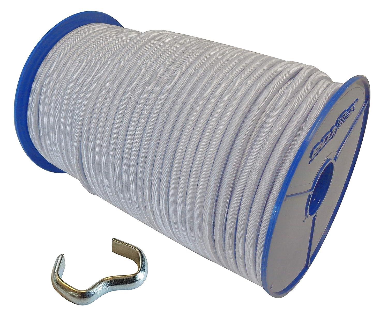 10 Seilklemmen Gummileine Planenseil Seil Plane in Weiss Blau 6mm Expanderseil 40m Gummiseil