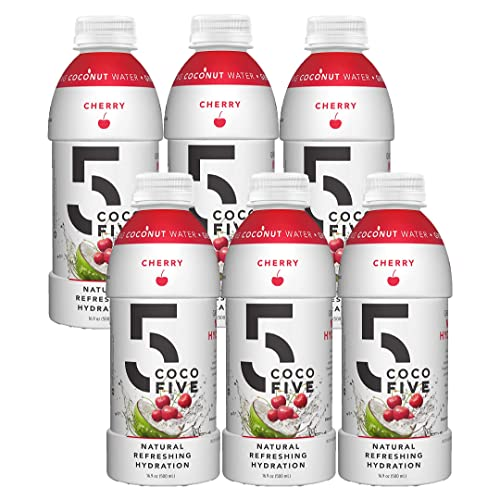 COCO5 Clean Sports Hydration Cherry Flavor 100 Natural 50 Less Sugar Nothing Artificial Non-GMO Gluten Free Developed by Pro Trainers for Pro Athletes 16.9 OZ Pack – 6