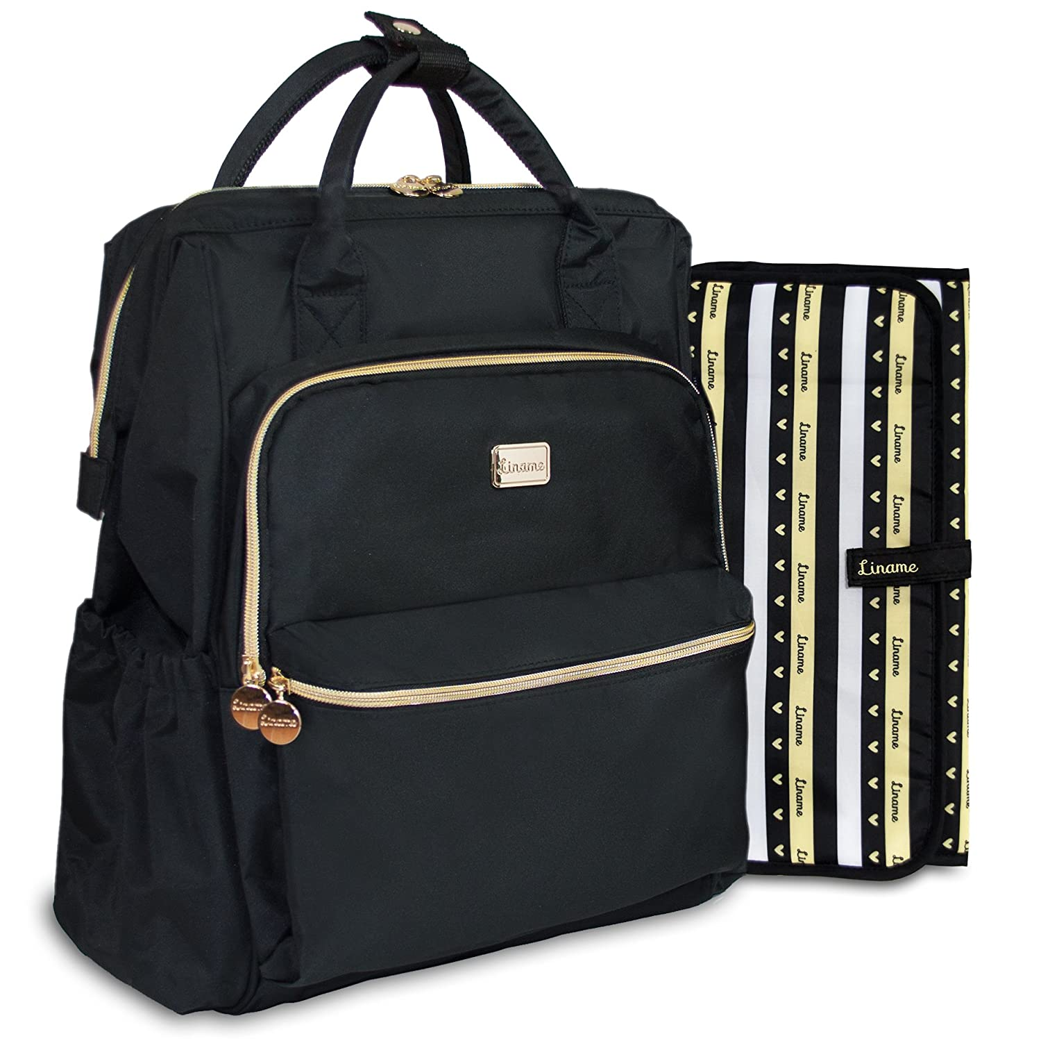 **LAUNCH SPECIAL OFFER** - Premium Changing Bag Backpack by Liname - Extra-Wide Zip Opening, Large Capacity & Stylish Design - Includes BONUS Buggy Straps & WATERPROOF Changing Pad - Easy to Clean and Looks Great black007