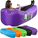KOR Outdoors Inflatable Air Lounger/Sofa - Heavy Duty Nylon Fabric - No-Pump Camping, Beach, Outdoor Lounge Couch with Headre