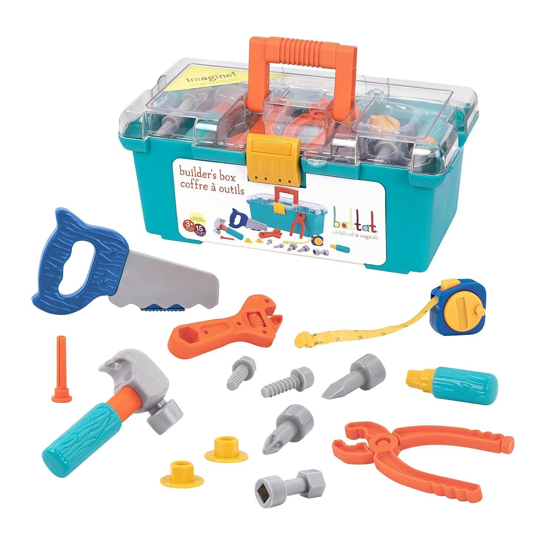 Battat – Battat Builder Tool Box – Durable Kids Tool Set – Pretend Play Construction Tool Kit for Kids 3 years+ (15-Pcs)