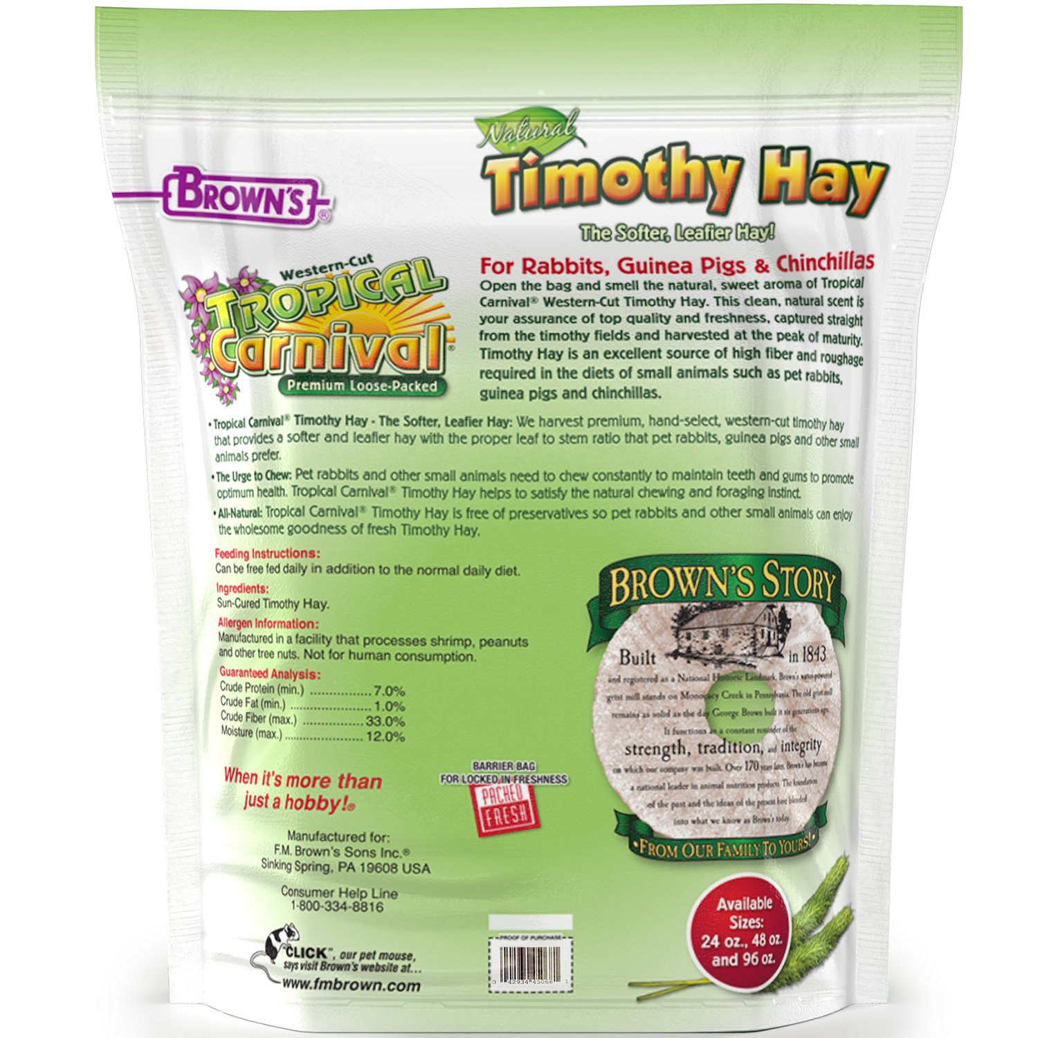 Tropical Carnival F.M. Brown's Natural Timothy Hay for Guinea Pigs, Rabbits, and Other Small Animals, with High Fiber for Healthy Digestion by Tropical Carnival (Image #2)