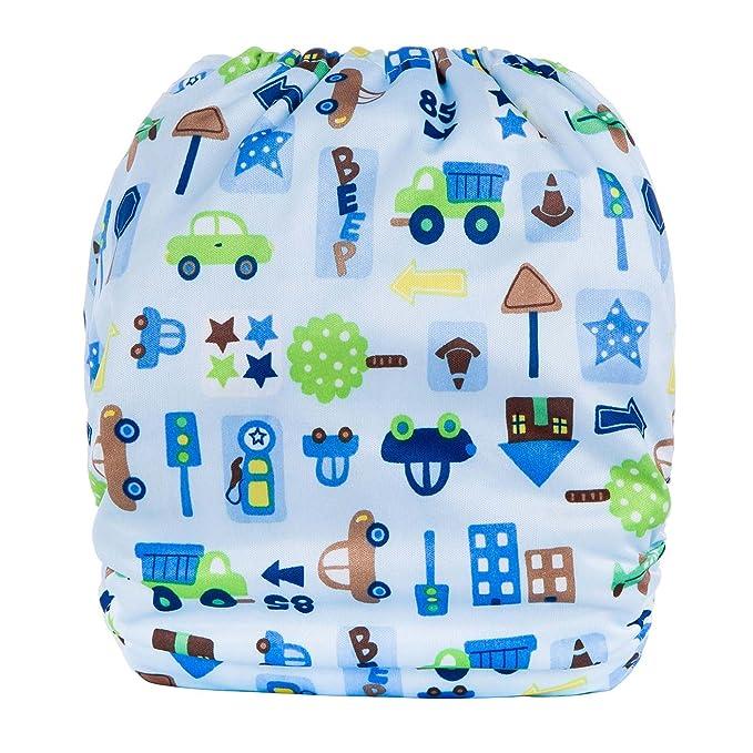 Escoceses Baby baby plástico pañales pañales Pantalón Baby Pañales Pañales reutilizables cubrepañales pañales con patrón de impresión con tamaño ajustable ...