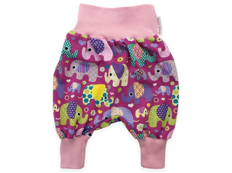 Kleine K/önige Pumphose Baby M/ädchen Hose /· Modell Elefantenparty lila violett /· /Ökotex 100 Zertifiziert /· Gr/ö/ßen 86//92