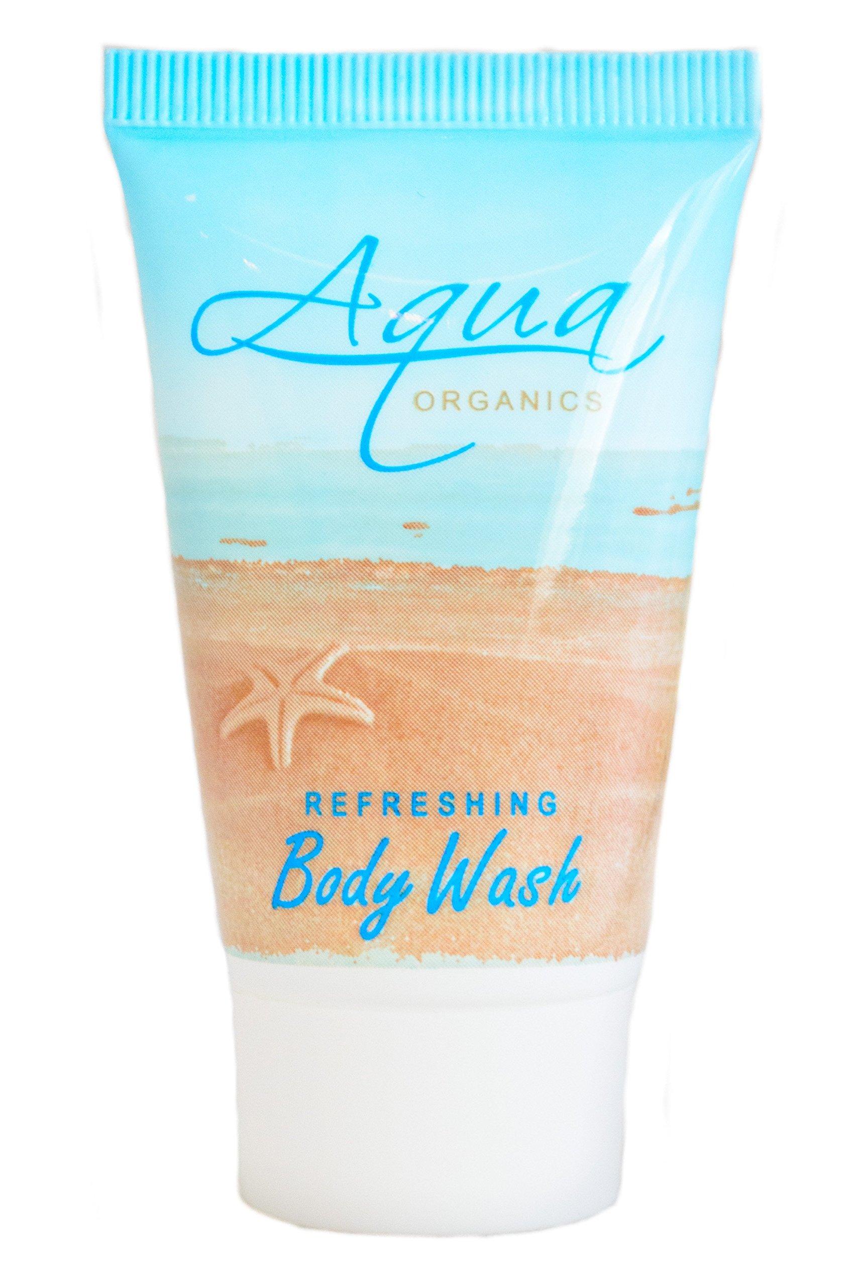 Aqua Organics Body Wash, 1 oz. Hospitality/Travel Size Tube, Enriched with Pure Aloe and Organic Olive Oil (Case of 300)