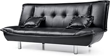Amazon Com Hodedah Faux Leather Click Clack Sofa Bed With 2
