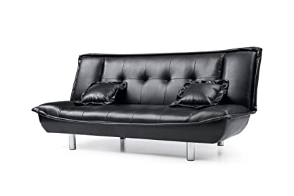 Hodedah Faux Leather Click-Clack Sofa Bed with 2-Pillows in Black