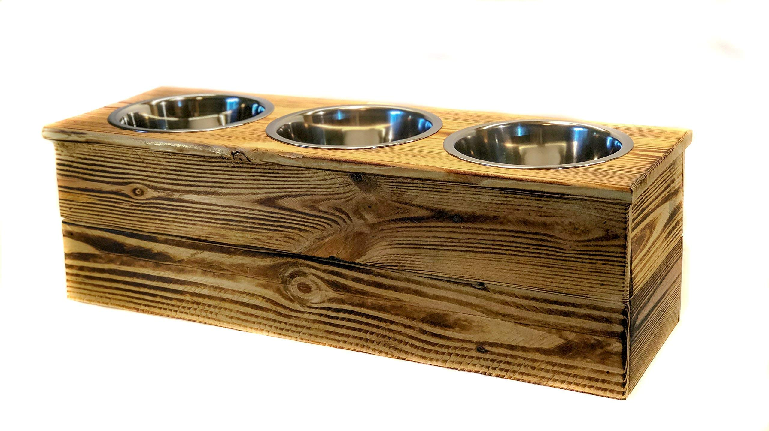 Elevated Large Three Bowl Pet Feeder From Reclaimed Pallet Wood by 6 Dogs Decor