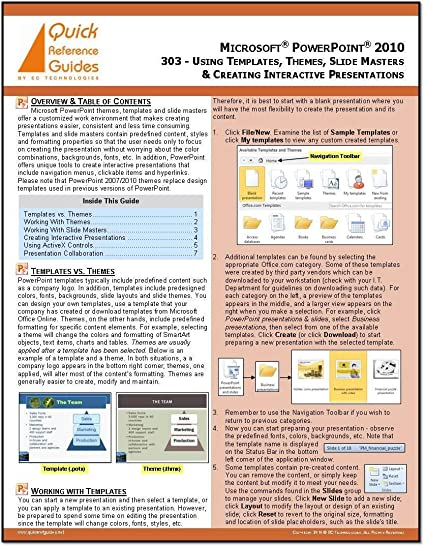 microsoft powerpoint 2010 quick reference guide using templates themes slide masters creating