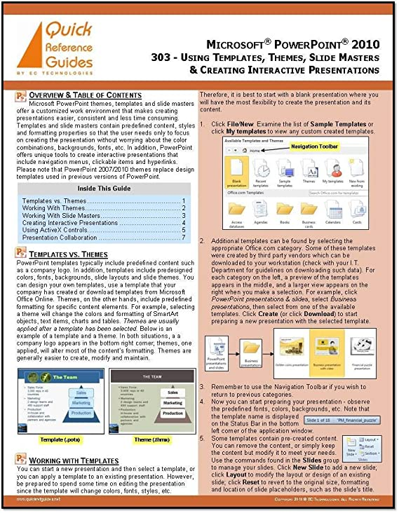 Amazon microsoft powerpoint 2010 quick reference guide using amazon microsoft powerpoint 2010 quick reference guide using templates themes slide masters creating interactive presentations 303 other toneelgroepblik Choice Image