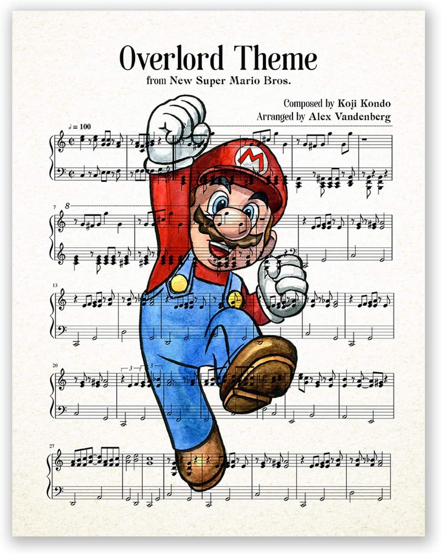 AtoZStudio Super Mario Brothers Poster // Music Sheet Print // Video Game Nintendo Nursery Print // Wall Art Decor // Party Decoration (8x10)