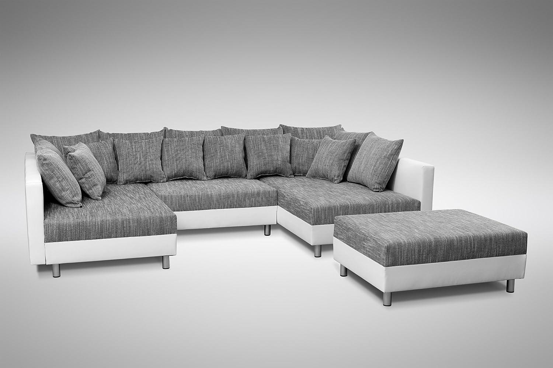 Ecksofa grau weiß  Sofa Couch Ecksofa Eckcouch in weiss / hellgrau Eckcouch mit ...