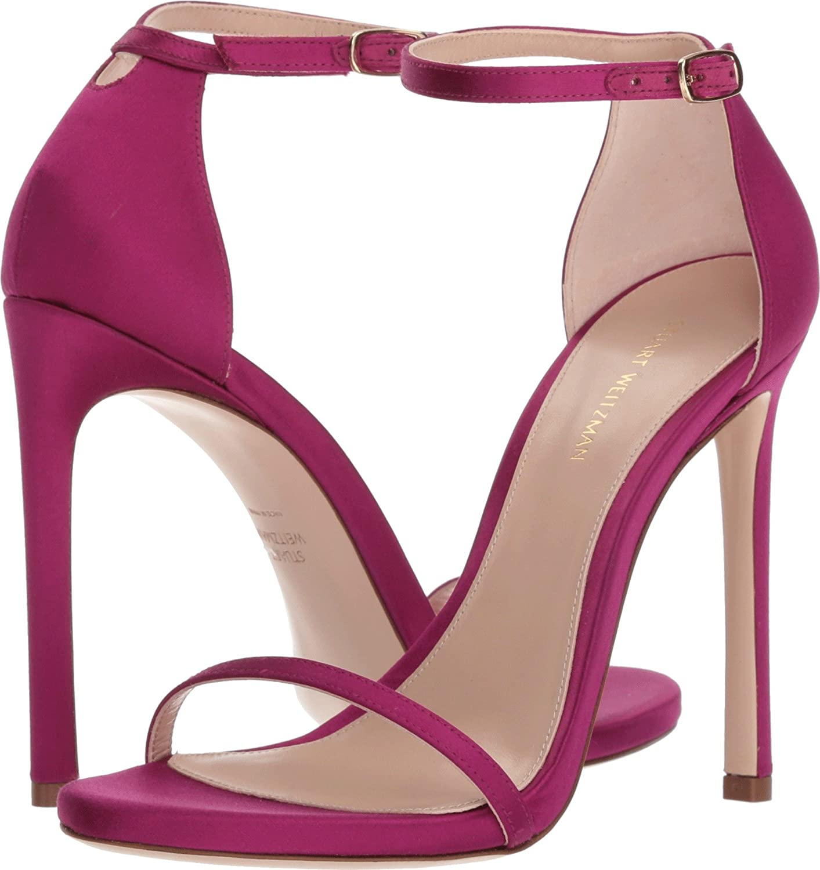 546ede93a1e1 Details about Stuart Weitzman Womens Pumps Open Toe Stiletto High Heel  Ankle Strap Satin Sexy