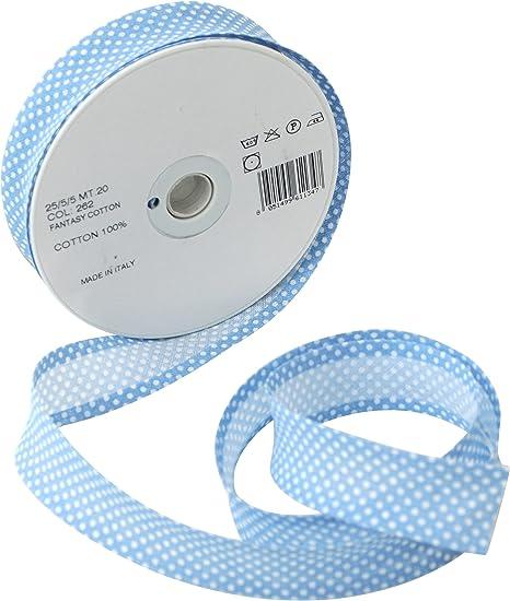 Inastri - Cinta bies de algodón, 25/5/ 5 mm, Color Azul Celeste con Lunares Blancos 262: Amazon.es: Hogar