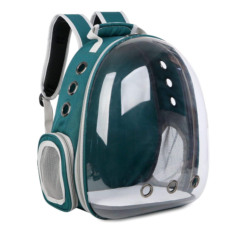Green Pet Backpack Shoulder Cat Bag Puppy Backpack Space Bag Transparent Pet Bag Portable Dog Bag Backpack Detachable,Green