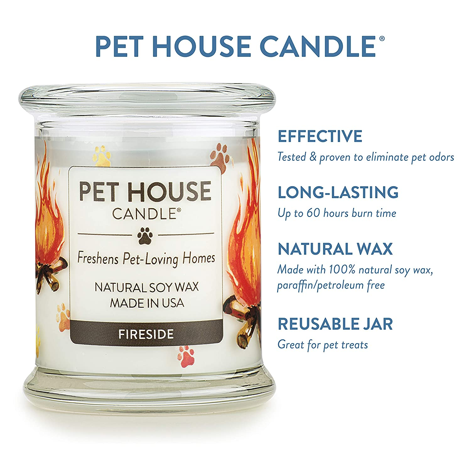 Non-toxic Pet House Candle Up To 60 Hours Burn Time Reusable Glass Jar Scented Candles Pumpin Spice 100/% Natural Soy Wax Candle- Pet Odour Eliminator One Fur All