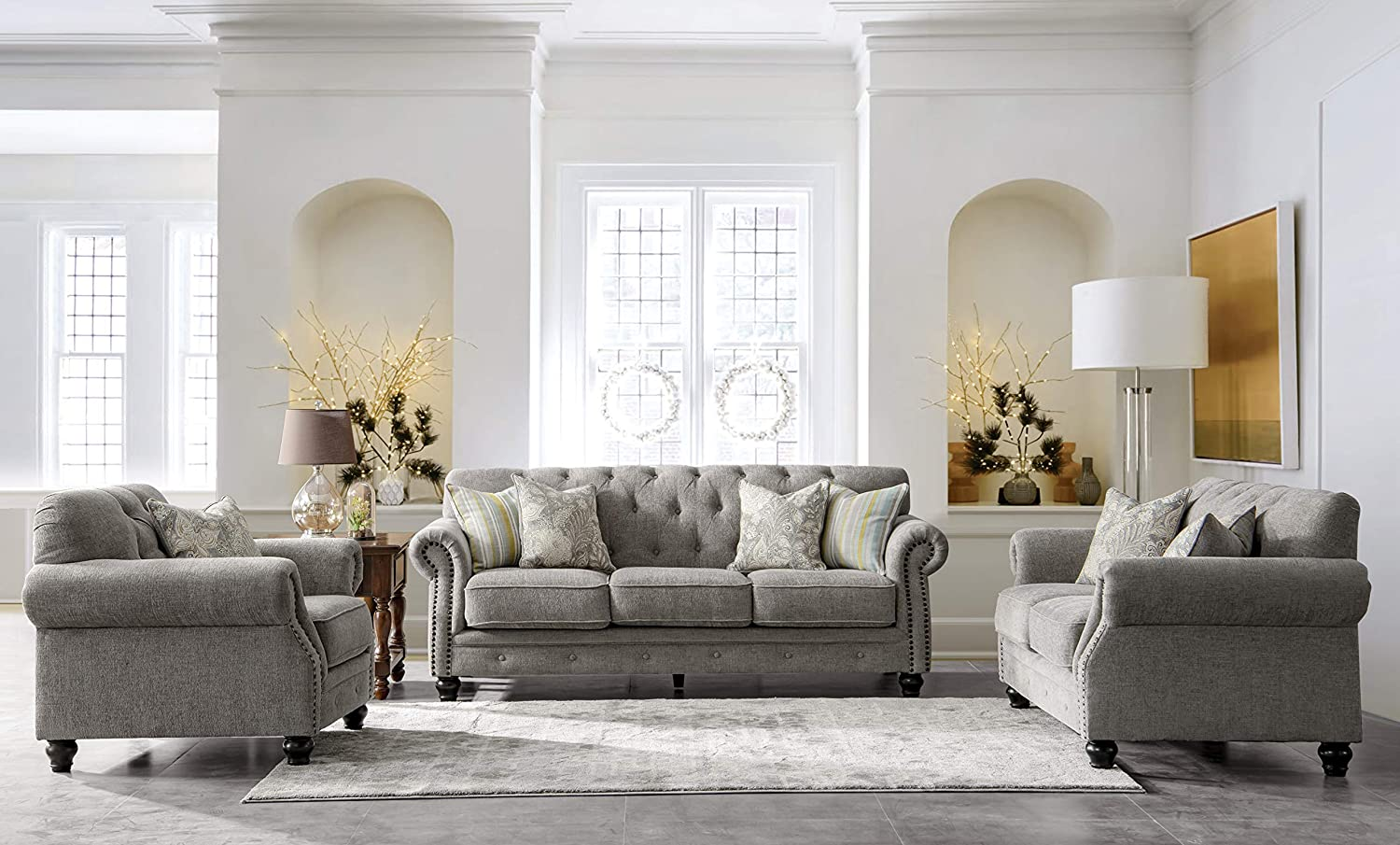 Chesterfield Chenille Living Room Set Sofa 3 Piece, Light Grey
