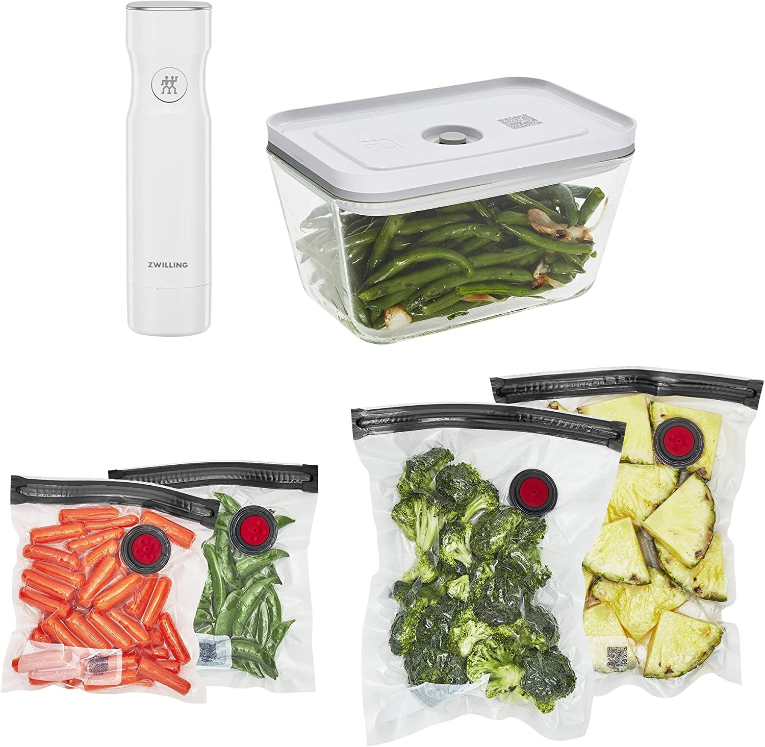 ZWILLING Fresh & Save Vacuum Sealer Machine Starter Set, Food Saver, Glass 6 piece BPA Free, Meal Prep or Sous Vide