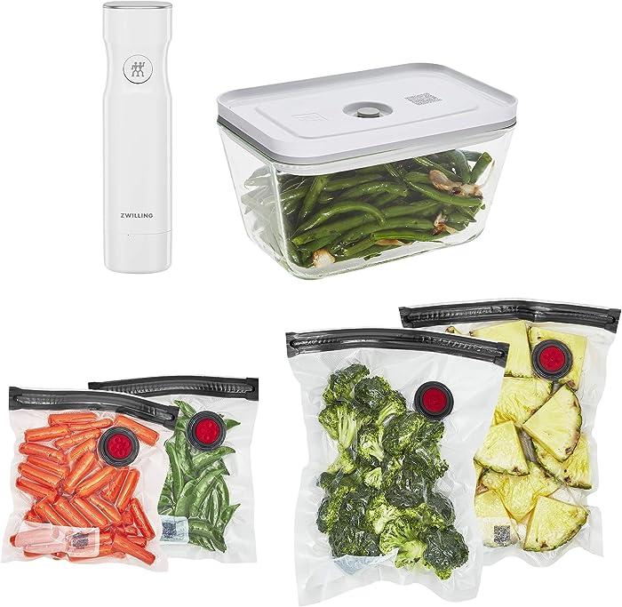 ZWILLING Fresh & Save Vacuum Sealer Machine Starter Set, Food Saver, Glass 6 piece BPA Free, Meal Prep or Sous Vide