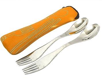 Spork - Cuchara - Tenedor - Set de cubiertos perfecto como utensilio para camping, excursiones o para ir de viaje