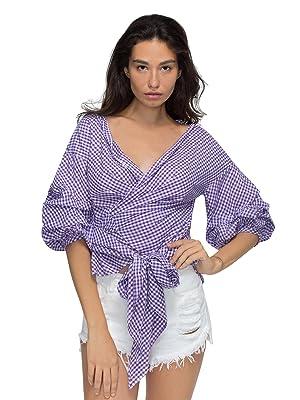 Choies Women Purple Plaid Ruffle Bell Sleeve Bow-waist Tie Vintage Blouse Top L