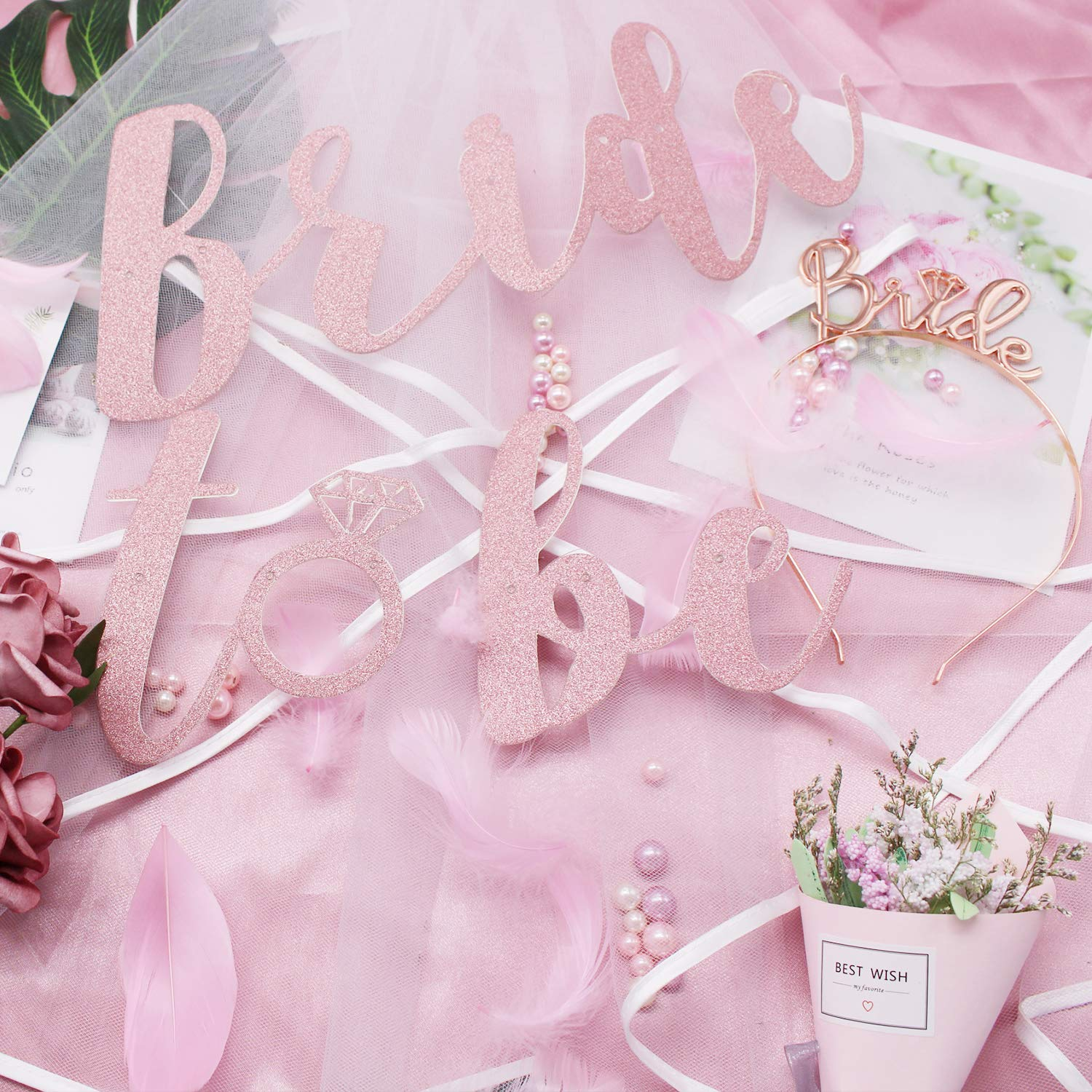 Hen Party Decorations Accessories(38PCS) Bride to Be Banner Hen Party Latex Balloons Confetti Balloons Photo Booth Props for Hen Do Nights Party Supplies