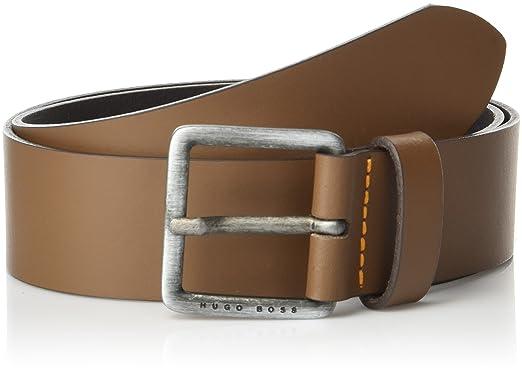584d814d68bc BOSS Orange Men's Jeeko Italian Leather Belt, Medium Brown, US 32 - EU 85