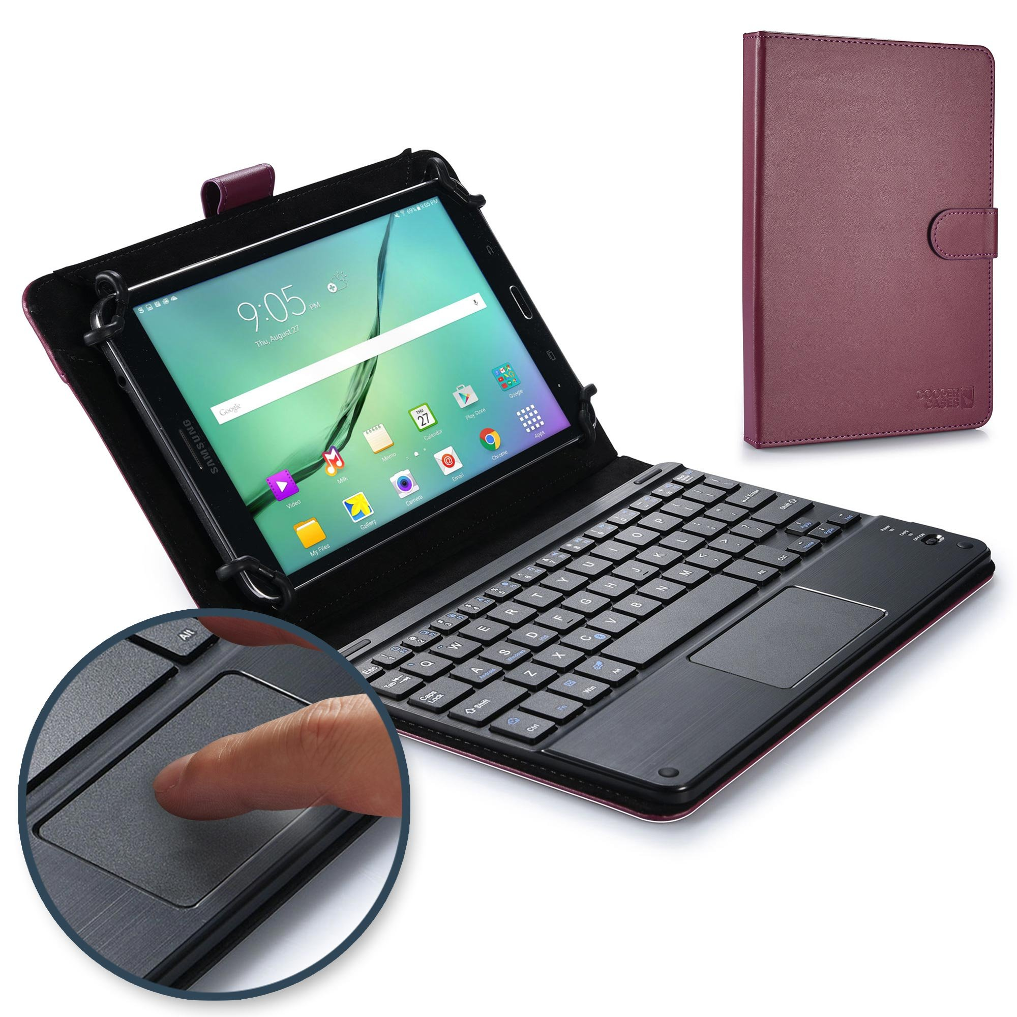 COOPER TOUCHPAD EXECUTIVE Keyboard case for 8'' - 8.9'' inch tablets | 2-in-1 Bluetooth Wireless Keyboard with Touchpad & Leather Folio Cover | Touchpad Mouse, Stand, 100HR Battery, 14 Hotkeys, Purple