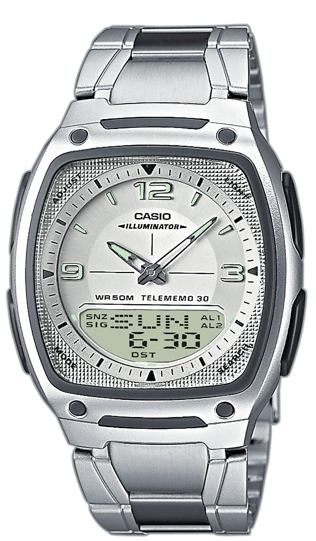 CASIO AW-81D-7AVEF - Reloj analógico y digital de cuarzo con correa de acero inoxidable para hombre, color plateado: Amazon.es: Relojes