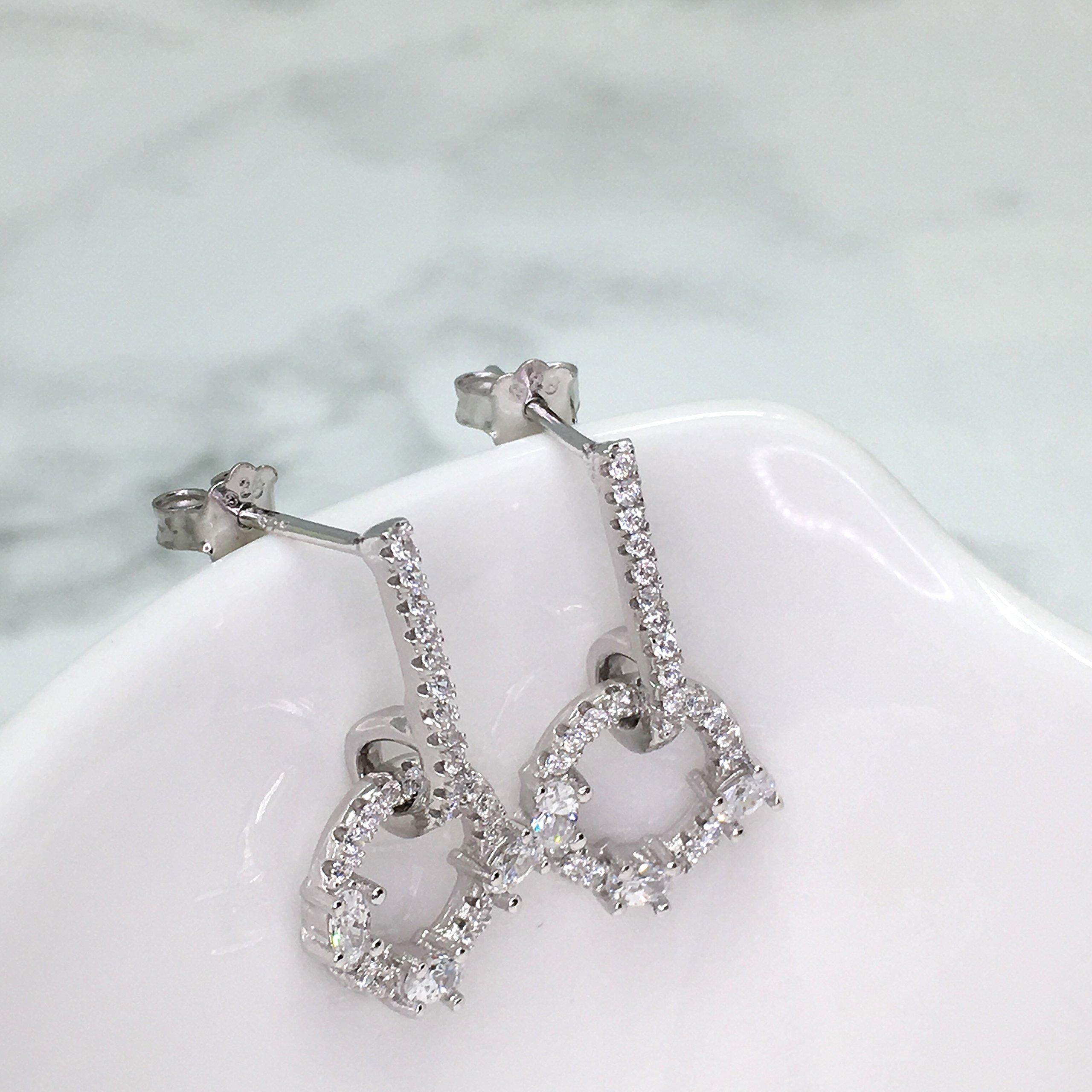 Spoil Cupid Rhodium Plated Sterling Silver Cubic Zirconia Drop Earrings