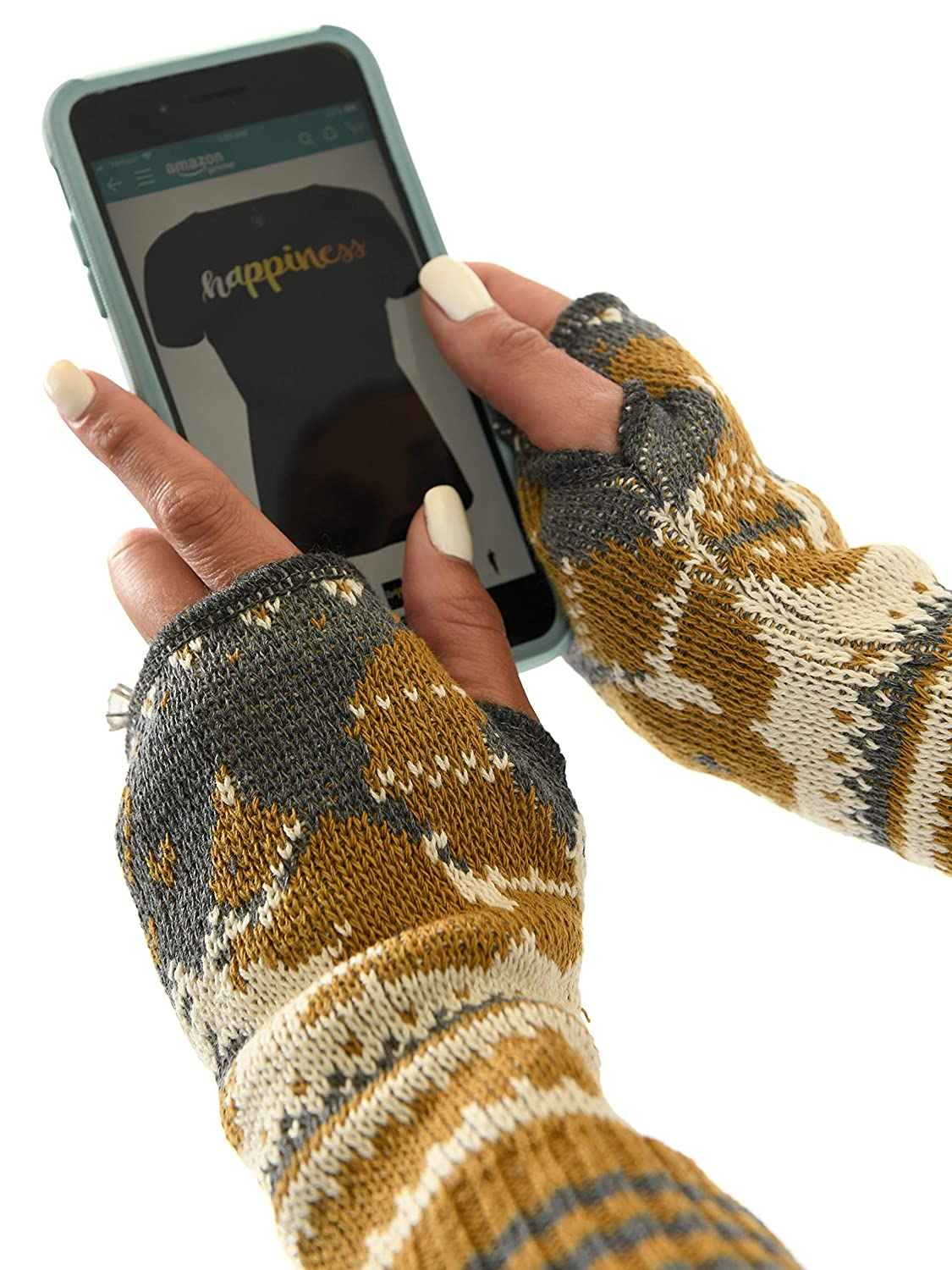 Green 3 Womens Recycled Cotton Hand Warmer Fingerless Gloves One Size