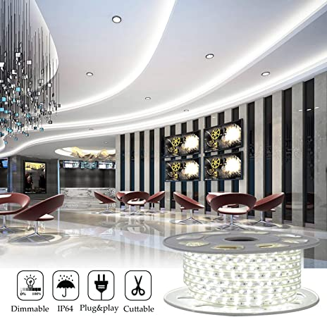 Shine Decor 7x10mm Led Strip Lights 110v Dimmable Flexible Waterproof Rope Lights 60leds M For Indoor Outdoor Ambient Commercial Lighting