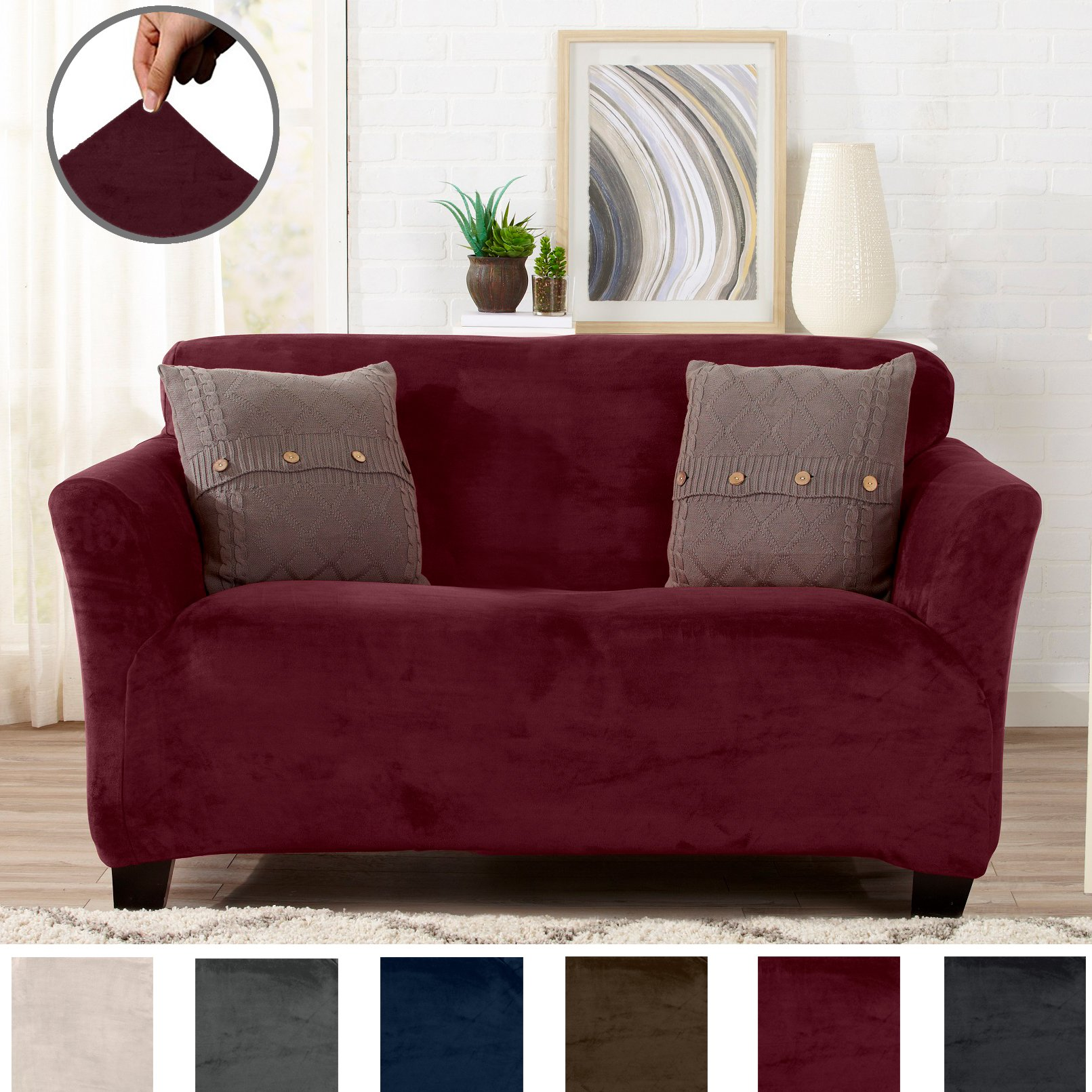 Great Bay Home Modern Velvet Plush Strapless Slipcover. Form Fit Stretch, Stylish Furniture Cover/Protector. Gale Collection Brand. (Loveseat, Zinfandel Red)