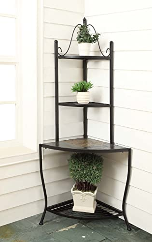 4D Concepts Corner Baker s Rack with Slate Top, Metal Slate