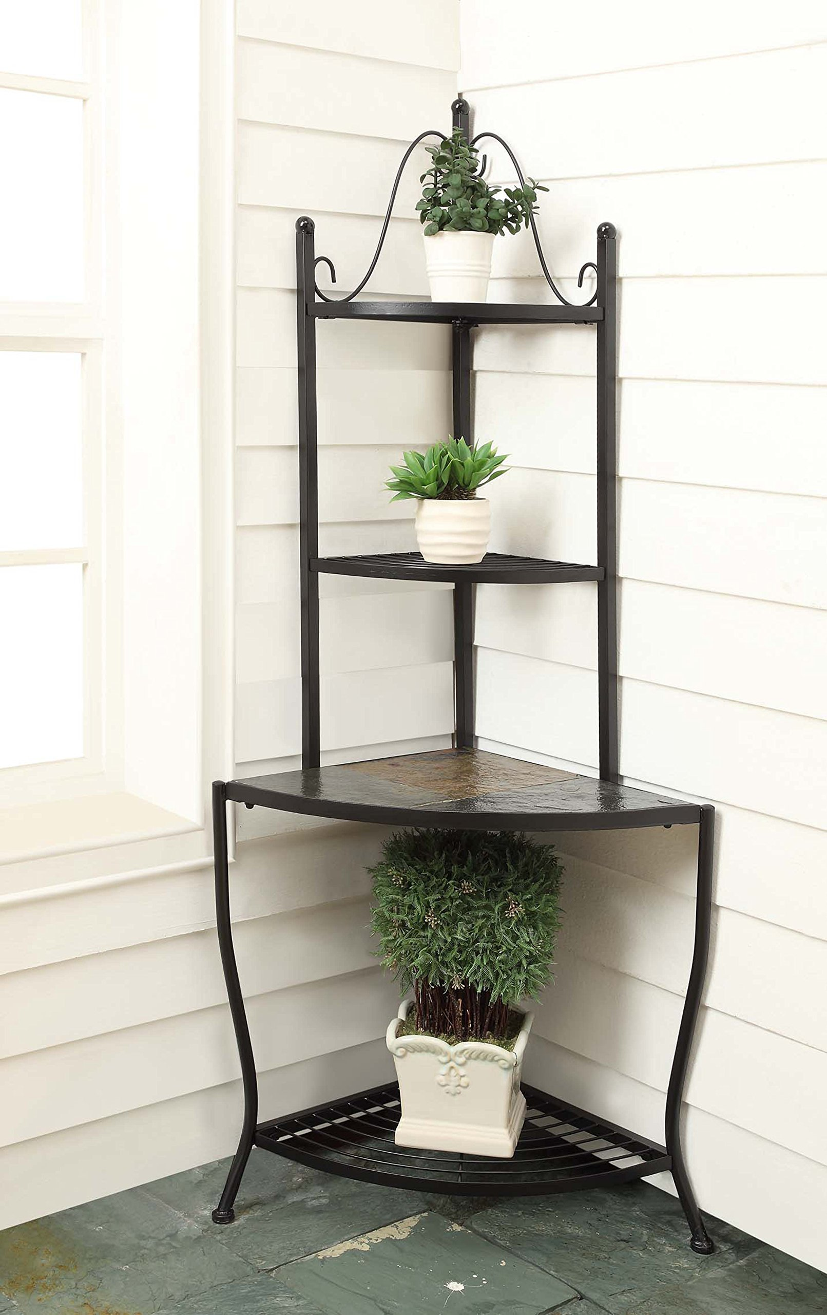 4D Concepts Corner Baker's Rack with Slate Top, Metal/ Slate