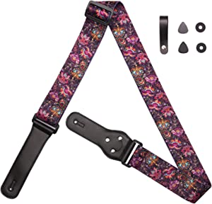 Rose Lake Guitar Strap Genuine Leather Ends & Soft Polyester Guitar Shoulder Strap with Strap Lock+ 2 Picks+ Strap Buttons for Bass, Electric, Acoustic Guitars (Purple Flying Floral)