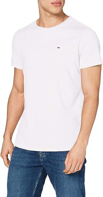 TALLA M. Tommy Jeans TJM Slim Jaspe C Neck Camiseta para Hombre