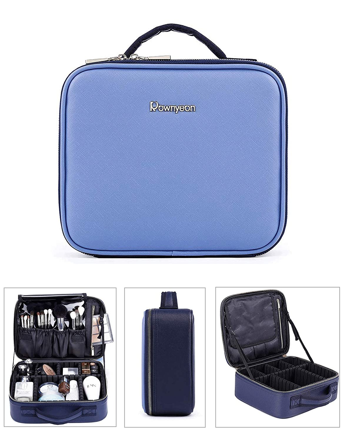 Rownyeon Makeup Train Cases Professional Travel Makeup Bag Cosmetic Cases Organizer Portable Storage Bag(10 inch) for Cosmetics Makeup Brushes Toiletry Jewelry Digital Accessories(Blue)