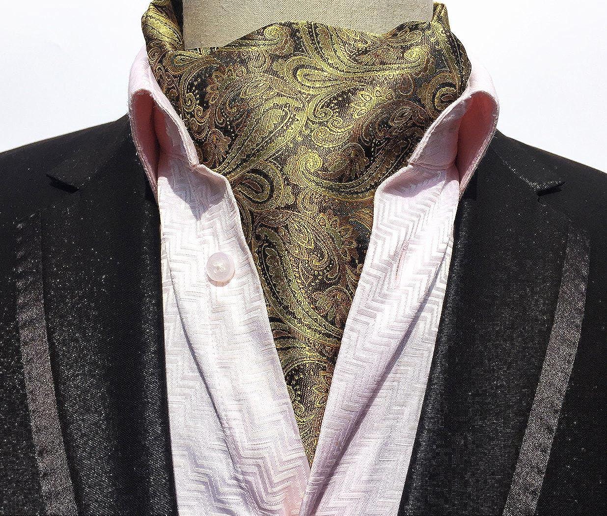 Color : D YLQC Mens Fashion 100/% Silk Classic Cravat Paisley Floral Jacquard Woven Self Tie Luxury Double-Sided Ascot