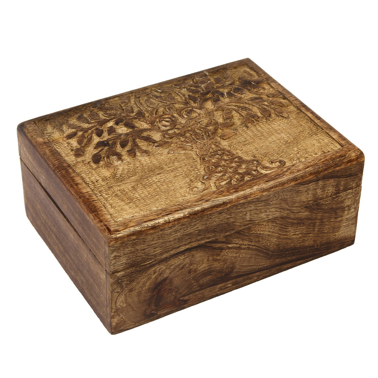 Icrafts India Wooden Tree of Life Keepsake Trinket Jewelry Box Storage Organizer | Handmade |(9 x 6 in)