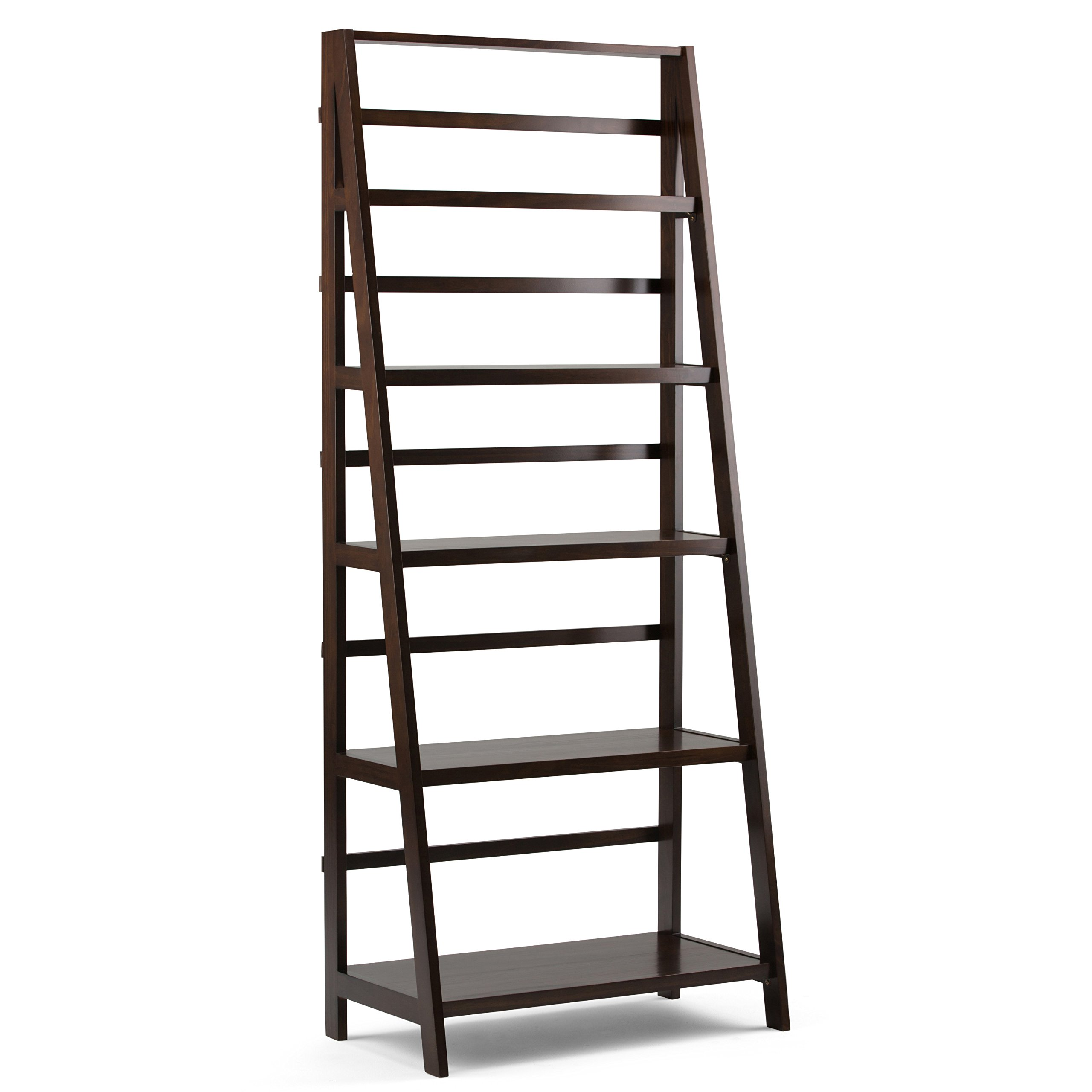 Simpli Home AXWELL3-016 Acadian Solid Wood 72 inch x 30 inch Rustic Bookcase in Tobacco Brown by Simpli Home