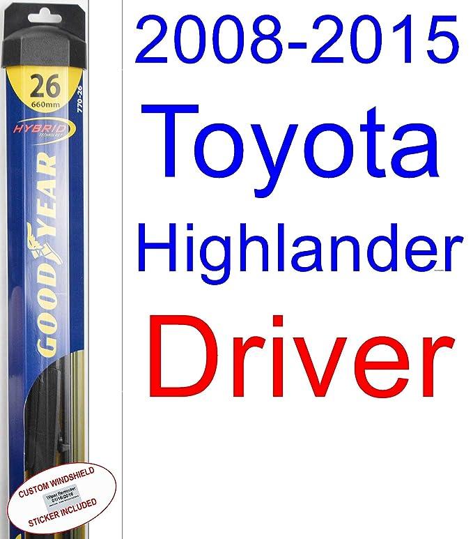 Amazon.com: 2008-2015 Toyota Highlander Wiper Blade (Rear) (Goodyear Wiper Blades-Hybrid) (2009,2010,2011,2012,2013,2014): Automotive