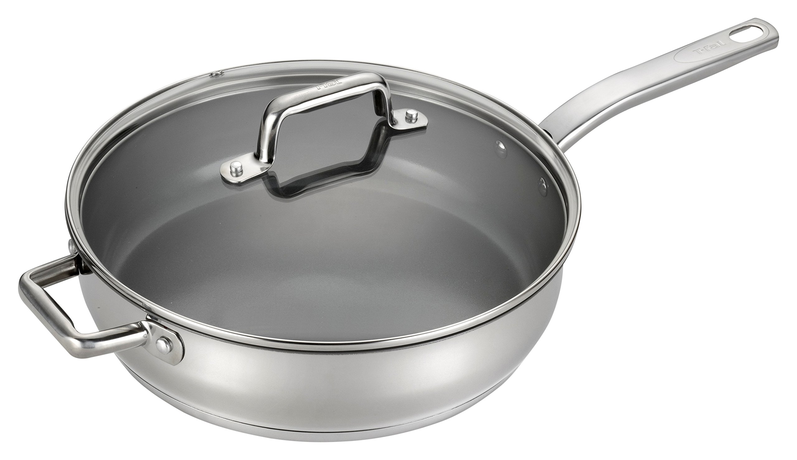 T-fal C71882 Precision Stainless Steel Nonstick Ceramic Coating PTFE PFOA and Cadmium Free Scratch Resistant Dishwasher Safe Oven Safe Jumbo Cooker Saute Pan Fry Pan Cookware, 5-Quart, Silver