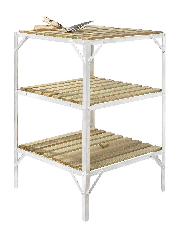 Aluminium & Wooden Slat Greenhouse Staging 2ft Wide (Plain Aluminium, 2ft long 3 tier) Simplicity Caverswall