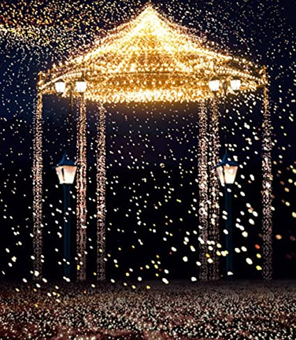 10x10 Ft Gold Bright Pavilion Blue Sky Night Wedding Photography Backdrop Romantic Princess Birthday Party Sparkly Photo Background Studio Booth Props