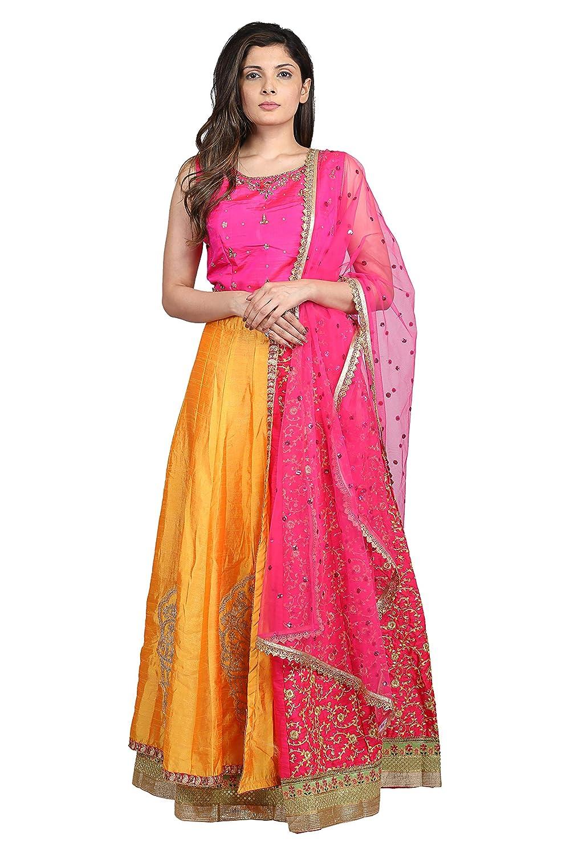 Buy Hastakala Women S Dupion Silk Gotta Patti And Kundan Zari Work Crop Top Lehenga Choli A40129738 Yellow Pink Free Size At Amazon In