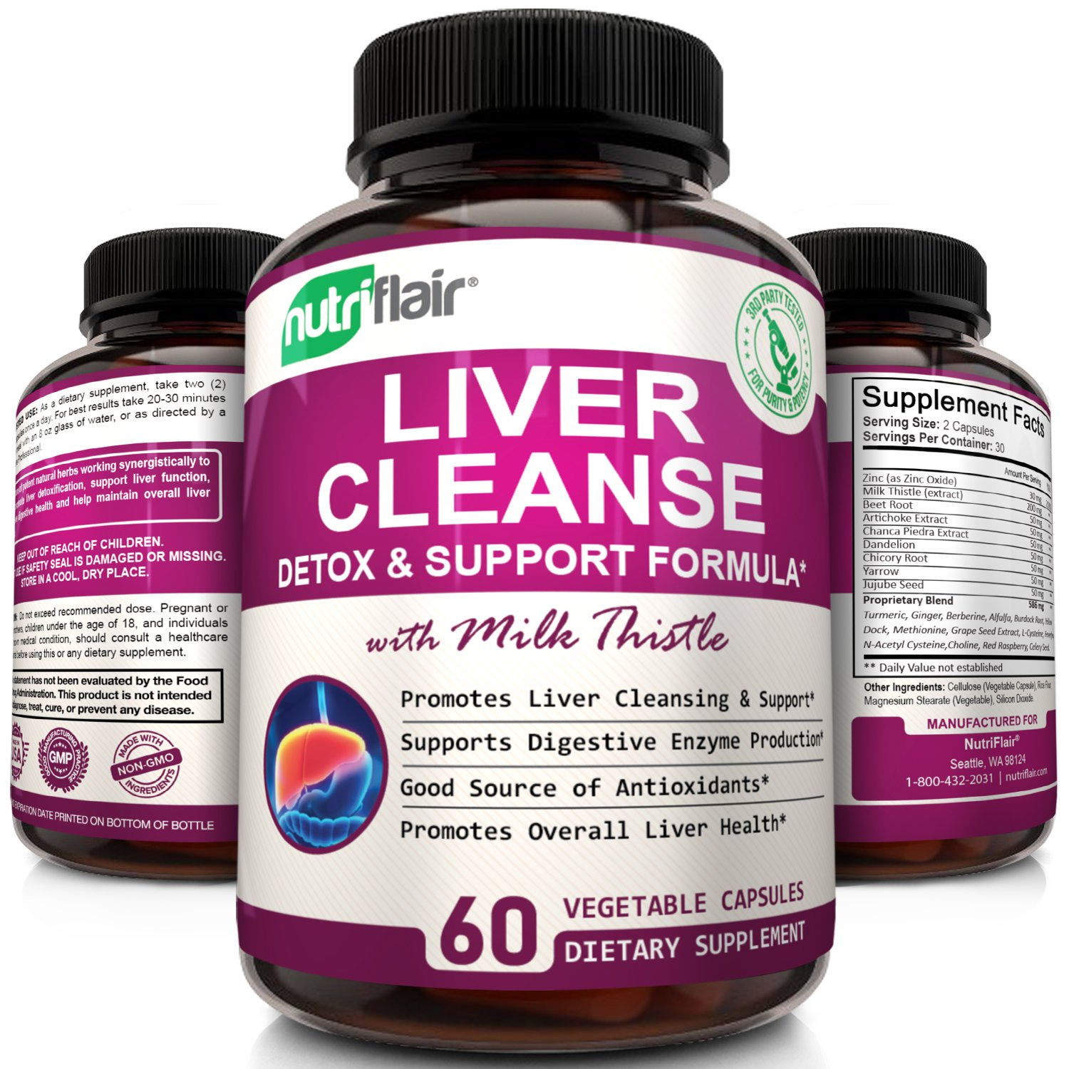 NutriFlair® Liver Cleanse, Detox & Support with Milk Thistle Detoxifier and Regenerator, 60 Veggie Capsules (packaging may vary)