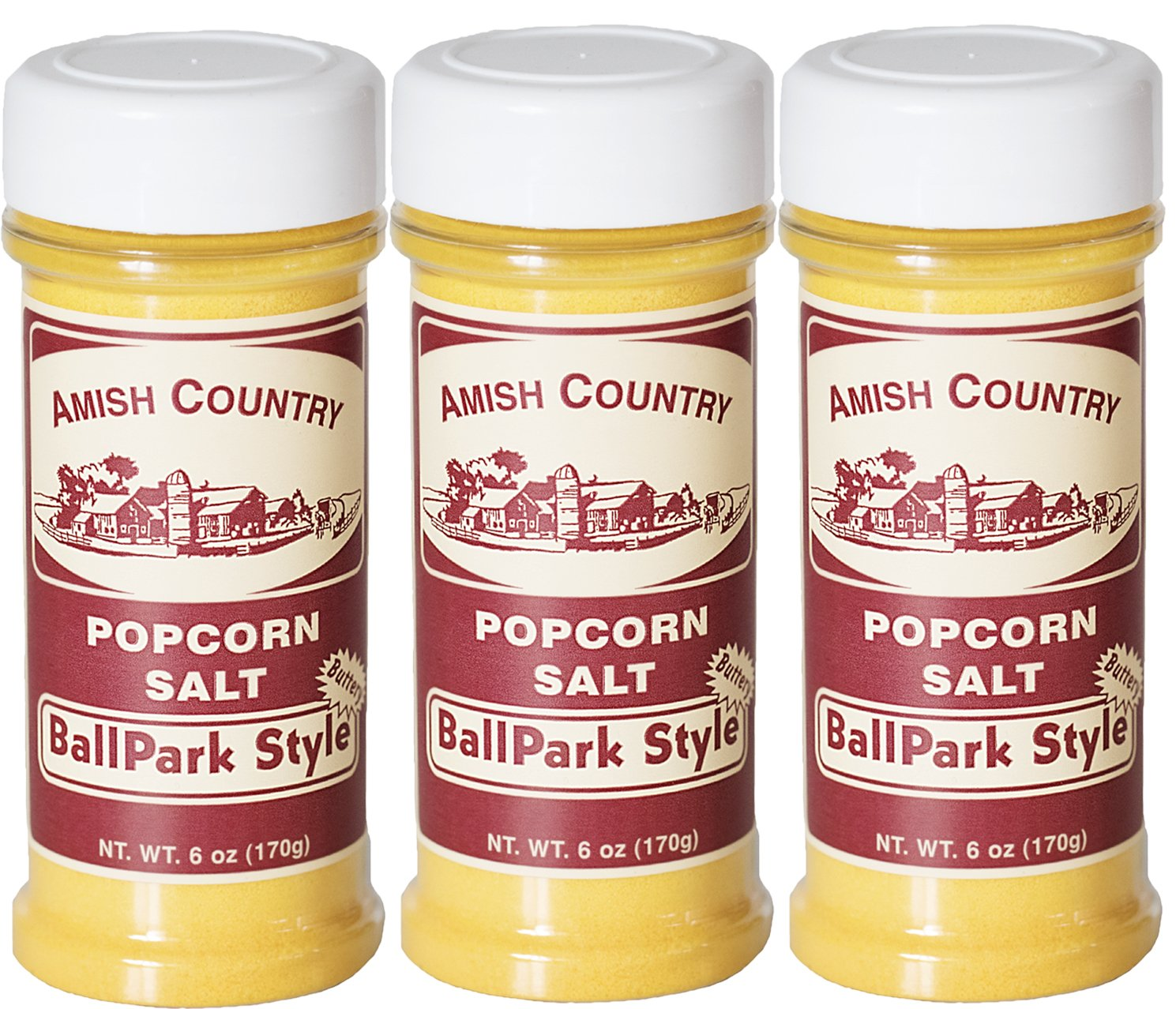 Amish Country Popcorn - 3 Pack Ballpark ButterSalt (6 Ounce) Old Fashioned Goodness With Recipe Guide by Amish Country Popcorn