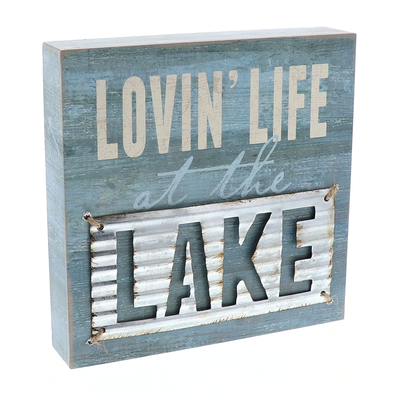 "Barnyard Designs Lovin' Life at The Lake Box Wall Art Sign, Primitive Lake House Home Decor Sign with Sayings 8"" x 8"""